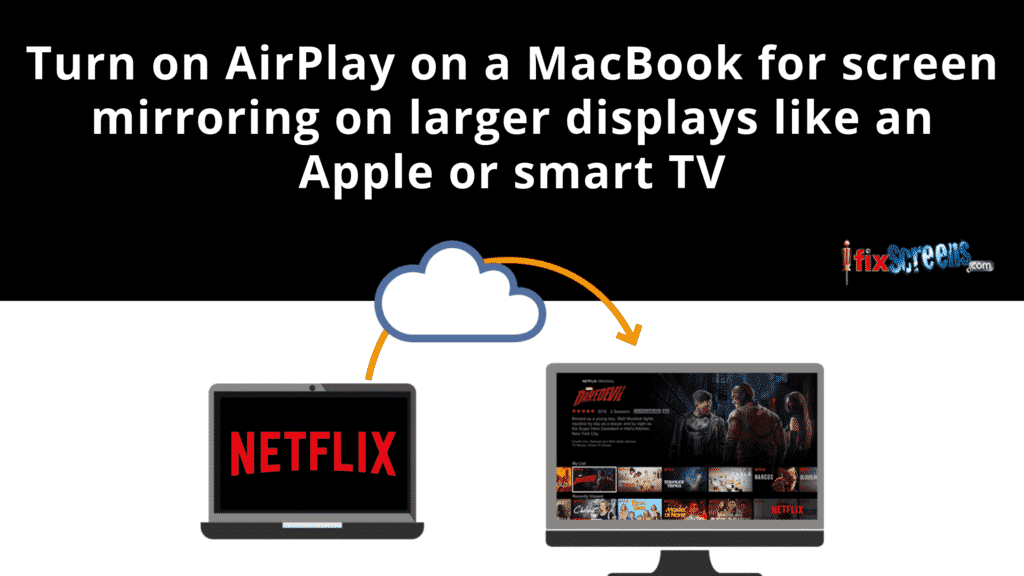 Turn on AirPlay on a MacBook for screen mirroring on larger displays like an Apple or smart TV